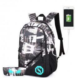 Batoh školní city- USB+pouzdro